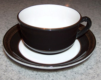 p7439: 8 Available Vintage Shenango Coffee Tea Cup & Saucer Set Black and Gold Restaurant Ware at Vintageway Furniture