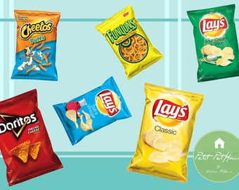 Printable 1:12 Miniature Chip Bags (6 Types) for Dollhouse DIY