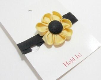 Yellow & Black Flower Elastic Headband, Kanzashi Flower Headband, Baby Headband, Toddler Headband, Adult Headband, Elastic Headband