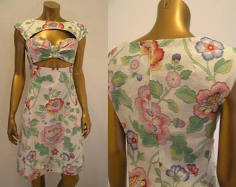 Peek a boo mod mini dress oversize floral print XS