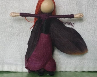 Black orchid Halloween Witch,  Flower Fairy Doll,  Halloween Doll, purple orchid