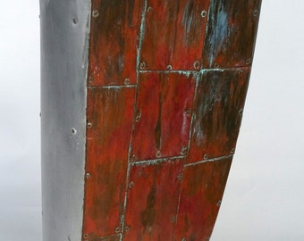 Copper Clad Wood Sculpture with Alabaster Stone
