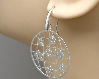 Earrings Flower World Sterling Silver Laser Cut Ear Wires no. 3551