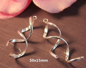 2 pairs of earrings for spiral silver 50x15mm SC07872