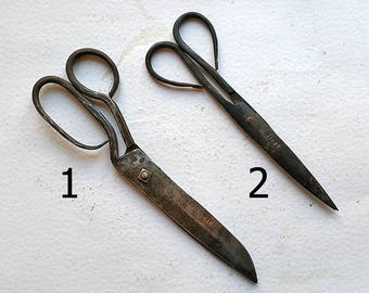 Antique scissors hand forged iron Vintage iron scissors Antique handmade tool Rare Collectible scissors Stamped Rustic decor One of a kind