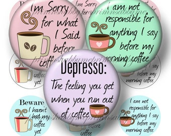Coffee, Bottle Cap Images, 1 Inch Circles, 2, Digital Collage Sheets, Printable, Funny, Sayings, Quotes, For Crafts, Pendants, No.1