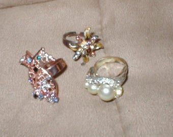 lot of 3 Vintage Costume Rings