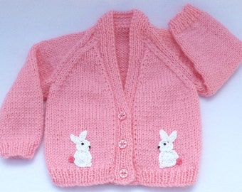 Knit baby cardigan. Hand knitted baby clothes. Pink baby sweater to fit 0 to 3 months. Baby girl clothes, baby girl gift, baby shower gift