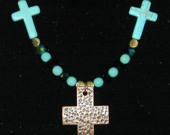 Howlite, Glass Bead & Brass Cross Necklace and Earrings OOAK