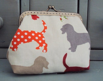 Hound dog purse, dog lovers purse, multi coloured purse