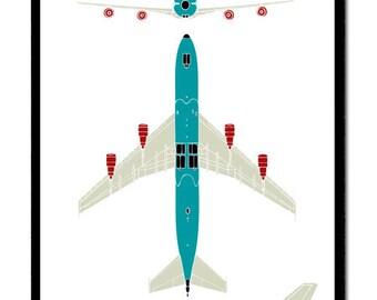 Plane Jumbo Jet Aircraft Flight Elevation Plan for Boys and Preteens Aeroplane poster print