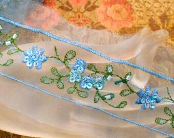 Sky Blue Beaded Sequined Trim