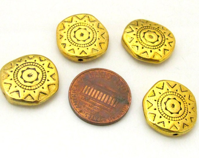 8 Beads - 18 mm wide Large disc shape antiqued golden color dual sided sun chakra design beads  - BD0786