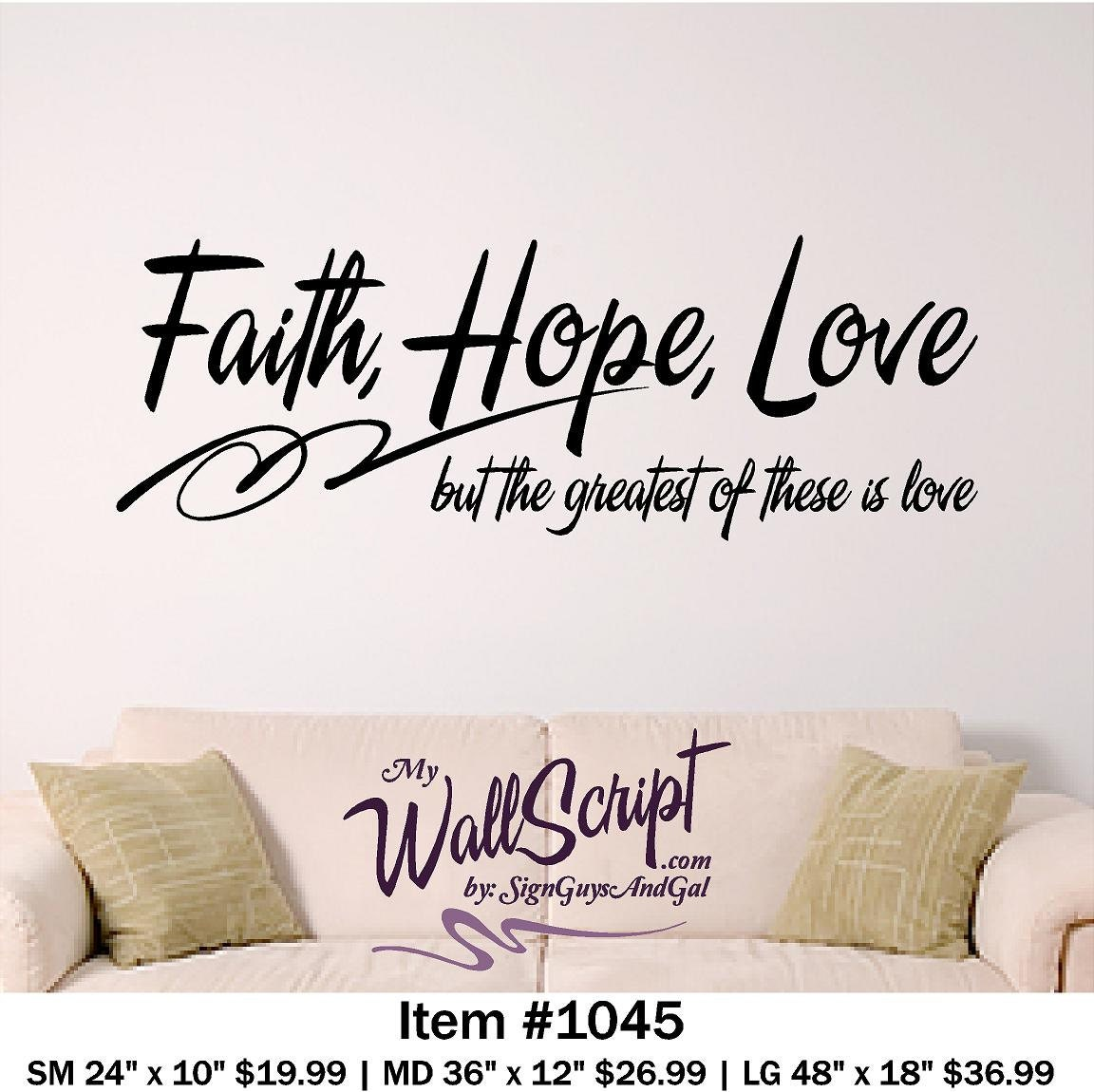 Faith Love Hope Quotes Bible Verse Wall Art Faith Hope Love Wall Decal