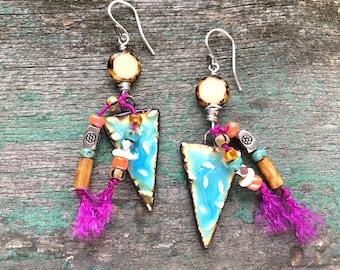Boho Earrings / Long Dangle Earrings / Colorful Earrings / Triangle Earrings With Charms / Turquoise Ceramic Earrings