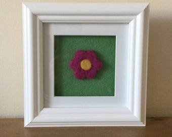 Hand needle felted flower picture