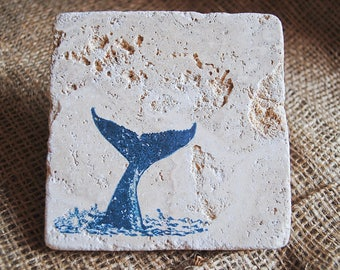 A Whale Of A Tail Coaster Set, Whale's Tail Coasters, Whale Coasters, Set of 4 Stone Coasters, Personalized Coasters, Unique Gift Idea