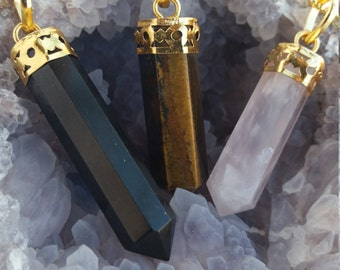 Crystal Point Necklace, Crystal Pendant, Gemstone Necklace