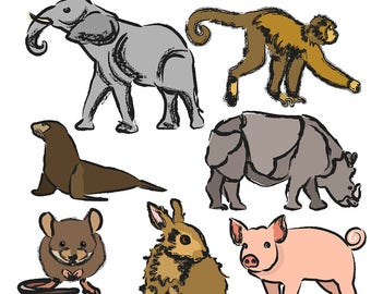 Sketched Animals with Color Clipart, Animal Clipart, Animal Clip Art, Pig Clipart, Elephant Clipart, Rabbit Clipart, Digital Download