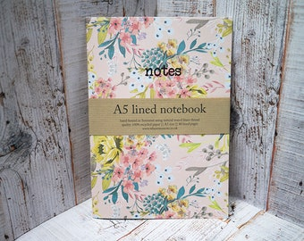 Pink Floral A5 Recycled Lined Notebook | Handmade Eco Friendly Note Book | Flower Nature Inspired | Notes