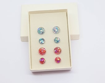 Stud earrings, iridescent studs earrings, pink studs, blue studs,  ladies gift, gift idea, daughter gift