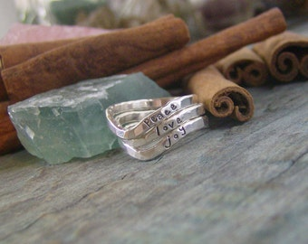 Chevron Personalized stackable stacking rings...hand stamped fine silver stacking rings.
