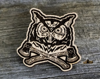 Wood - Owl Axes Pin / Brooch