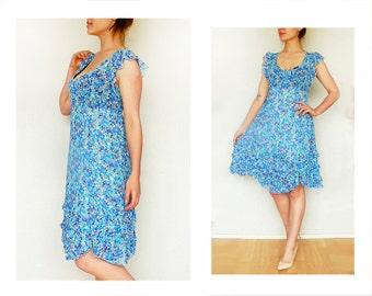 Blue dress - Tea party  Sundress - vintage women