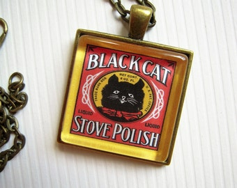 Vintage Black Cat Stove Polish Pendant Necklace Advertising Altered Art Upcycled Repurpose Jewelry