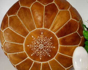 Beautiful HANDMADE Ottoman Moroccan pouf Leather Authentic Moroccan Pouf Handcrafted