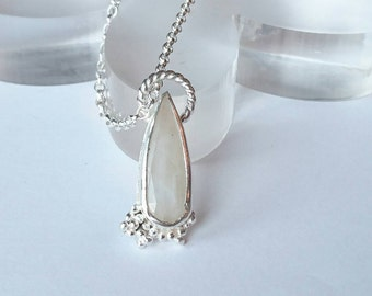Sterling silver handmade moonstone necklace with granulation, hallmarked in Edinburgh