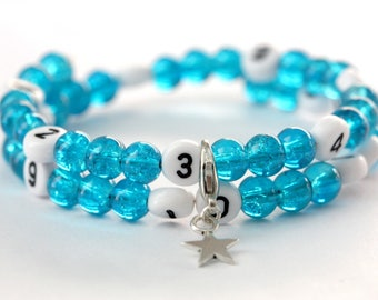 Nursing bracelet on memory wire 55mm with glass beads form cracked turquoise
