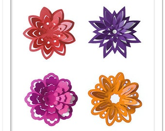 3D Pop out spring flowers cutting files templates in SVG, DXF, PDF formats