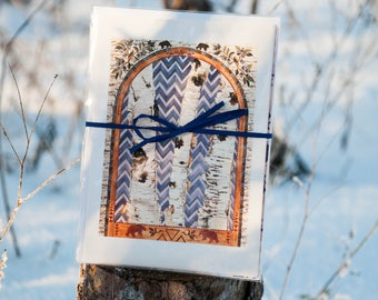 Set of Six Northwoods Note Cards, Birch Tree Cards, Blank Cards, Greeting Cards, Holiday Cards, Nature Cards, Birch Bark Art, Watercolor