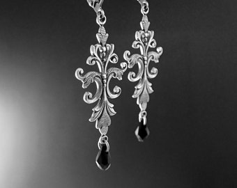 Black Swarovski Crystal Victorian Drop Earrings - Large Filigree Statement Earrings - Renaissance Style in Antique Silver with Leverbacks