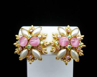 Vintage Pink Floral Clip Earrings, Vintage Earrings, Clip On Earrings, Floral Earrings, Pink Earrings