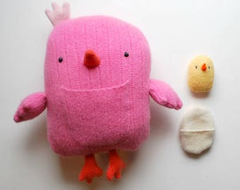 Pink Chicken Plushie with an Egg and Chick - Plush Stuffed Animal - Upcycled - Wool - Ecofriendly - Farm Animal - Play - Fun