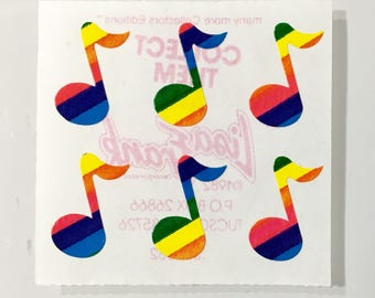 Vintage Lisa Frank Rainbow Musical Notes Stickers