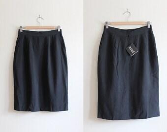 Vintage Deadstock Anne Klein Black Silk Pencil Skirt