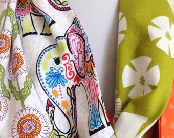 Elephant Print Scarf, Cotton Infinity Scarf, Year Round Fashion,  Cotton Scarf, Orange Green Summer Scarf, Stitchesnquilts, Etsy Shop