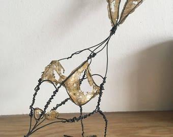 Wire Bird Sculpture with Gold Detail