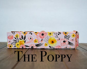 Pink Floral Spring dog collar with rose gold