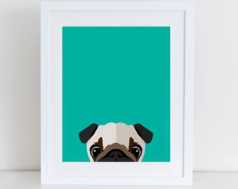 Pug Art Print, Instant Download,  Printable Home Decor, Digital Art Print, Pug Lovers Print, Pug art Print, Pug Dog Decor, Dog wall Art