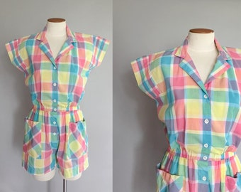 Vintage 1980s rainbow plaid romper / 80s pastel candy colored dolman sleeve pocket romper / 1940s style / small S medium M