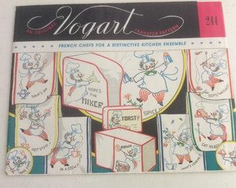 Vintage Vogart 244 EmbroideryTransfer - French Chef Kitchen