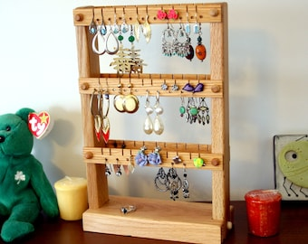 Earring Holder Stand - Jewelry Display Stand, Oak, Wood, Double-Sided. Holds up to 60 pairs of earrings. Jewelry Organizer