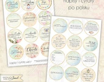 Napisy i Cytaty po polsku - 2.5 inch circles - set of 24 - digital collage sheet - pocket mirrors, tags, scrapbooking, cupcake toppers