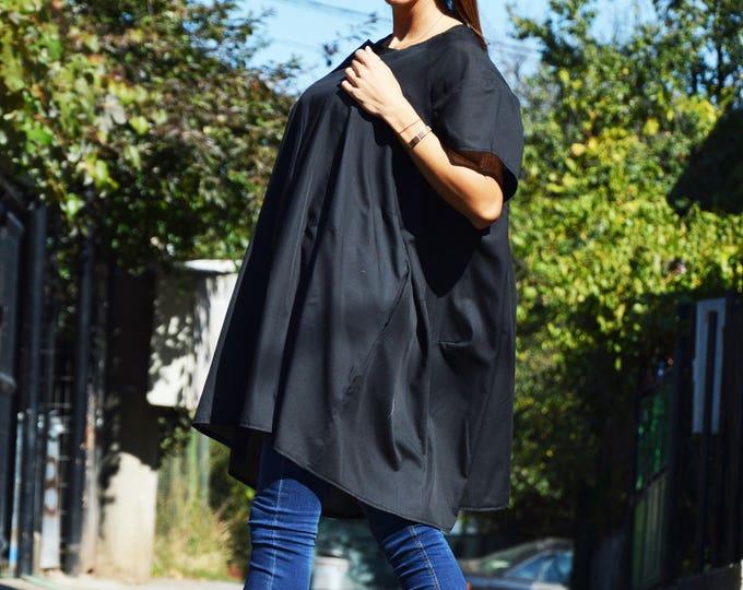 Women's Loose Top, Black Asymmetric Plaid Shirt, Summer top, Casual Tank Top, Plus Size Shirt, Extravagant Tunic by SSDfashion