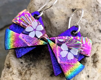 Pretty 3D Dichroic Glass Earrings - Purple Rainbow & Silver Blossoms with Sterling Silver Hooks