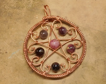 Wire Wrapped Copper Pentacle Pendant with Tourmaline Gemstones